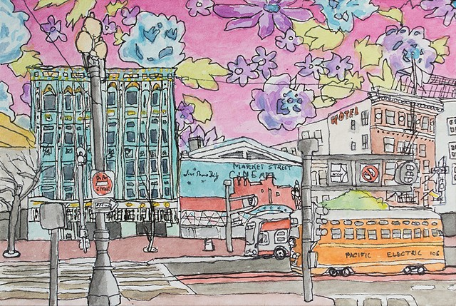 San Francisco Hoods #5. Watercolor and ink on paper. Art by Eric Dyer