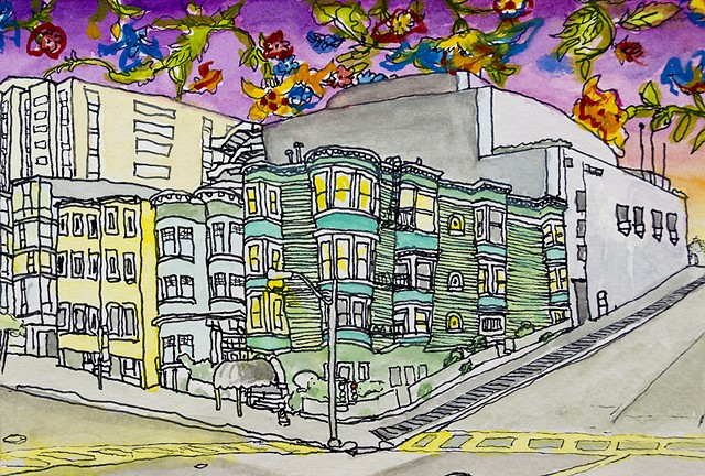 San Francisco Houses #23. Watercolor and ink on paper. Art by Eric Dyer
