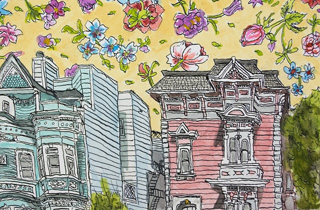 San Francisco Houses #25. Watercolor and ink on paper. Art by Eric Dyer
