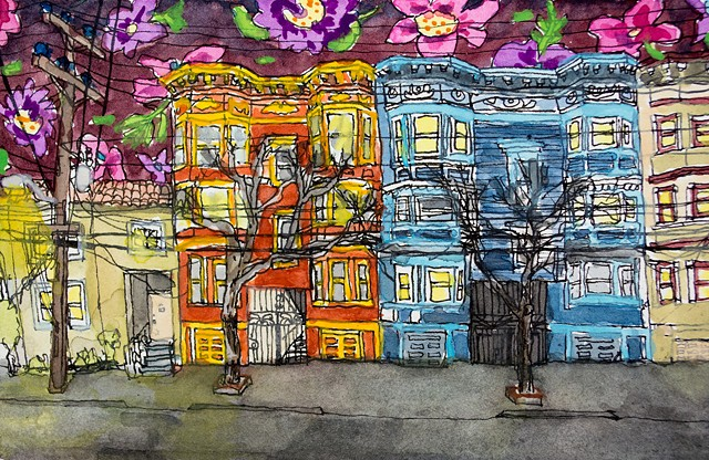 San Francisco Houses #22. Watercolor and ink on paper. Art by Eric Dyer