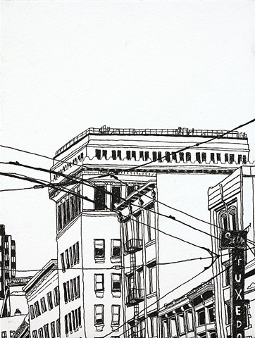 The buildings speak their history. Ink on paper. Art by Eric Dyer