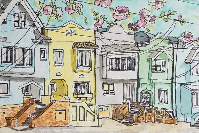 San Francisco Hoods #3. Watercolor and ink on paper. Art by Eric Dyer