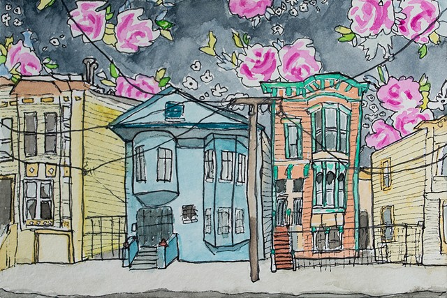 San Francisco Hoods #2. Watercolor and ink on paper. Art by Eric Dyer