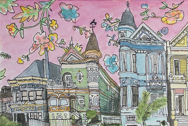 San Francisco Hoods #4. Watercolor and ink on paper. Art by Eric Dyer
