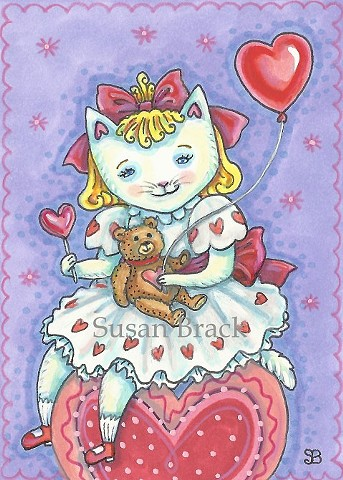 Valentine Baby Kitten Cat Feline Heart Susan Brack Folk Art Illustration EBSQ ACEO