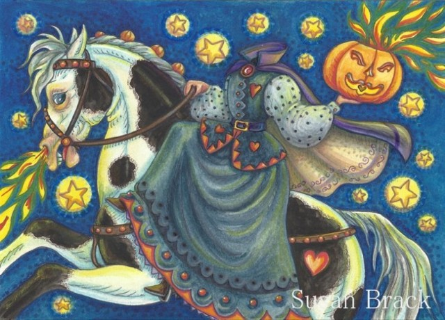 Sleepy Hollow Headless Horseman Woman Horse Halloween Susan Brack Art License