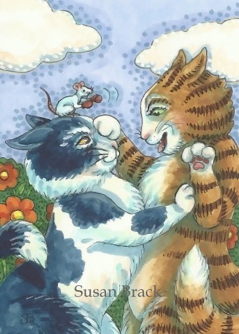 Cat Kitten Feline Boxing Gloves Mouse Rat Boxer  Susan Brack Art