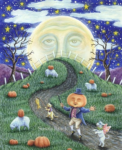 Halloween Man In The Moon Pumpkin Man Dog Susan Brack Folk Art Illustration EHAG EBSQ