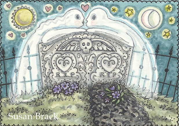 Ghost Lovers Husband Wife Cemetery Tombstone Grave Spirits Susan Brack Art