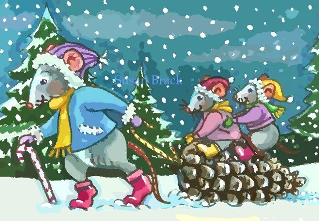 Christmas Baby Mice Mouse Rat Pinecone Sled Holiday Susan Brack Art EBSQ Humor