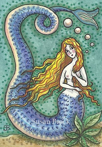 Mermaid Siren Long Fish Tail Illustration Fantasy Susan Brack Art Ink Legend License