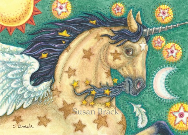 Unicorn Buckskin Pegasus Flying Horse Mustang Equine Fantasy Susan Brack Art License