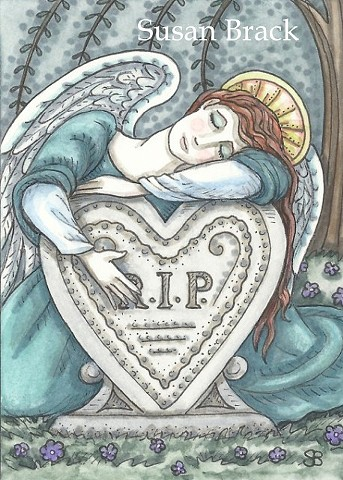 Grave Cemetery Grieving Guardian Angel Mourning Susan Brack Art Illustration Ink