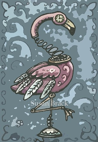 Pink Flamingo Bird Steampunk Gears Goth Gothic Susan Brack Art Illustration License