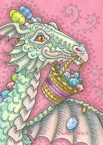Easter Egg Basket Dragon Whimsy Cartoon Susan Brack Holiday Art License