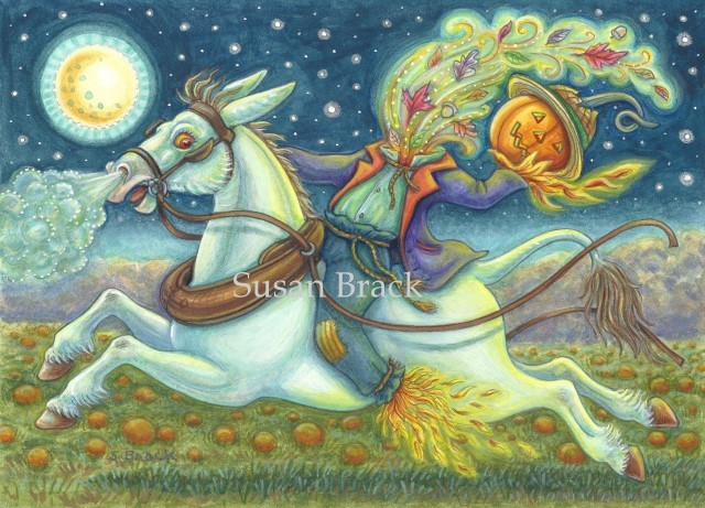 Sleepy Hollow Headless Horseman Scarecrow White Mule Halloween Susan Brack Folk Art