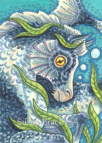 Seahorse Sea Horse Pony Fantasy Pinto Susan Brack Art Illustration License EBSQ ACEO