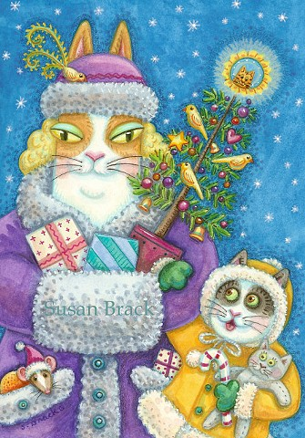 Hiss N' Fitz Cat Kitten Christmas Gifts Susan Brack Art Feline Humor EBSQ License