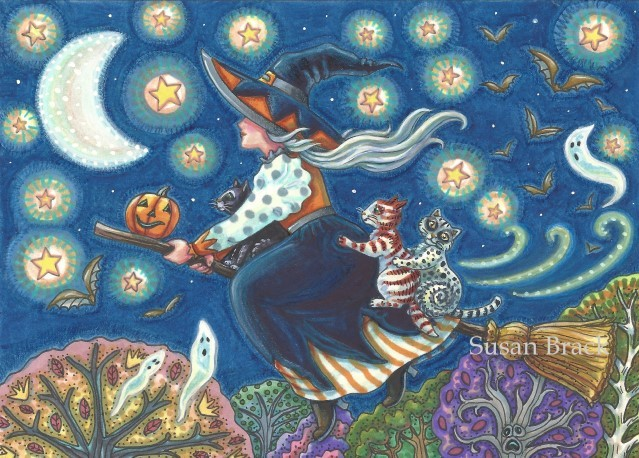 Halloween Cats Witch Flying Broomstick Portrait Susan Brack Folk Art Illustration Licensing