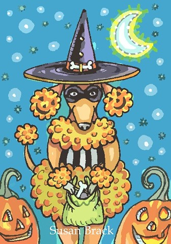 Halloween French Poodle Dog Pup Halloween Cartoon Susan Brack Art Illustration License