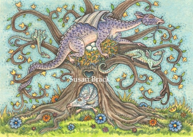 Dragon Family Tree Medieval Colony Goth Susan Brack Fantasy Art Illustration Licensing