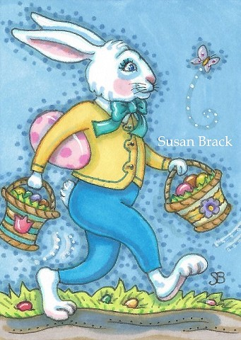 Easter Bunny Rabbit Egg Basket Holiday Whimsy Spring Susan Brack Art