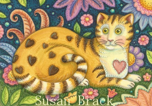 Folk Art Cat Kitten Feline Portrait Garden Susan Brack Flowers Licenses