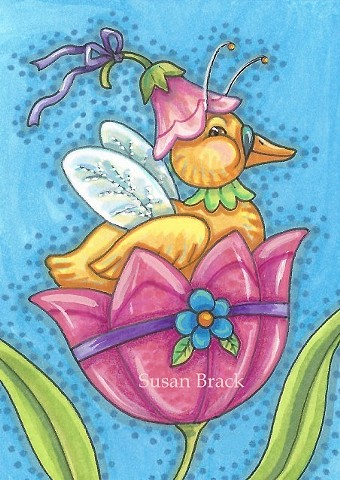 Duck Duckling Easter Tulip Holiday Whimsical Cute Susan Brack Art EBSQ License Bird