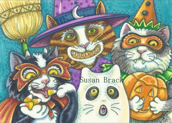 Halloween Cats Feline Kitten Costume Ghost Witch Susan Brack Art Illustration License