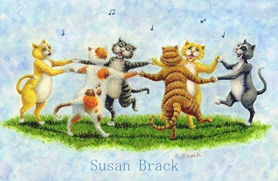 Dancing Cats Felines Kittens Illustration Susan Brack Art Dance Tribe License Humor