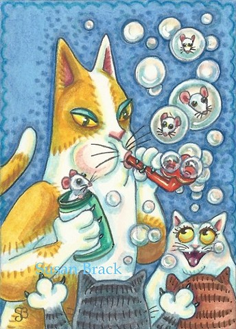 Hiss N' Fitz Cat Kitten Blowing Mouse Bubbles Susan Brack Art Feline Humor License EBSQ