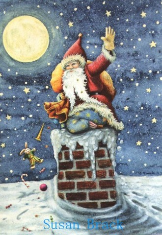 Christmas Santa Belsnickle Chimney Roof Americana St. Nick Holiday Susan Brack Folk Art