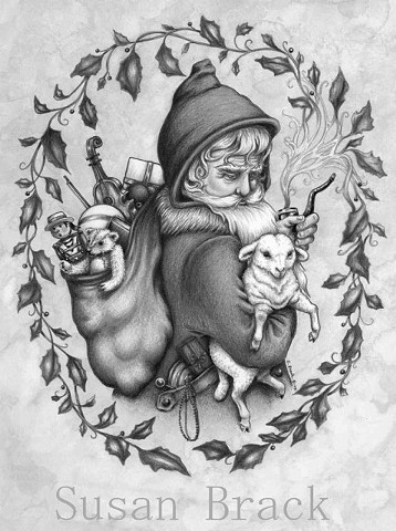 Pere Noel Father Christmas Vintage Style Lamb Susan Brack Art Illustration License Santa