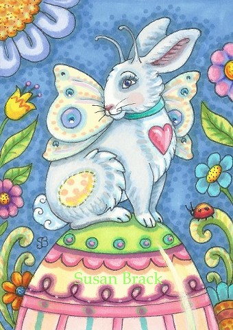 Easter Bunny Rabbit Fairy Faerie Egg Holiday Whimsy Spring Hare Susan Brack Folk Art