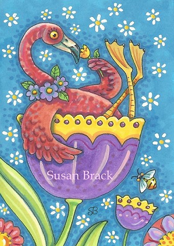 Pink Flamingo Bird May Day Flower Spring Susan Brack Art Illustration License