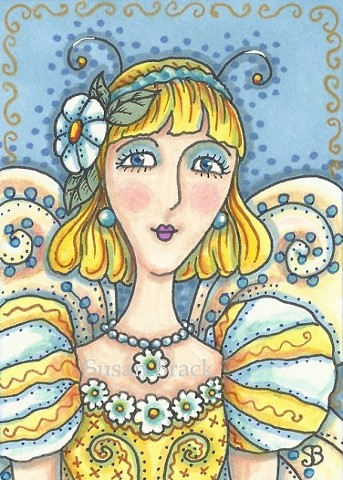 Fairy Garden Party Girl Nymph Sprite Portrait Fantasy Susan Brack Art Artist
