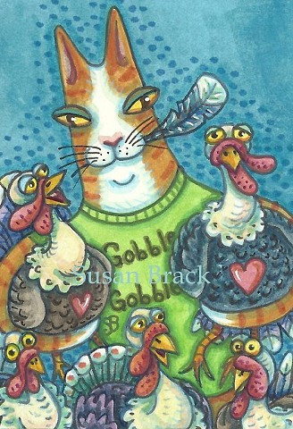 Hiss N' Fitz Cat Feline Rescue Thanksgiving Turkey Susan Brack Illustration Art ACEO EBSQ