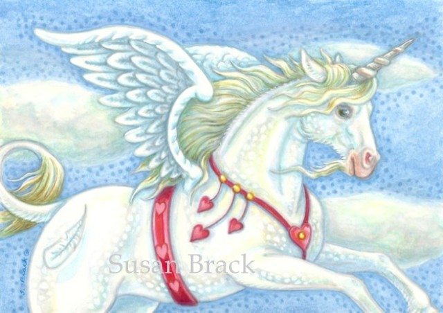 Valentine Hearts Pegasus Unicorn Flying Horse Fantasy Susan Brack Art license