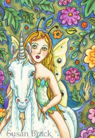 Fairy Faerie Unicorn Horse Girl Enchanted Susan Brack Art Illustration License