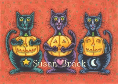 Black Cats See No Evil Halloween Jack O Lanterns Susan Brack