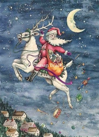 St. Nick Father Christmas Belsnickle Santa White Reindeer Susan Brack Art License