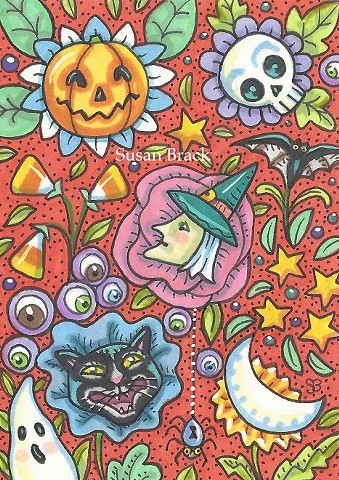 Repeat Design Halloween Witch Black Cat Spider Skull Susan Brack Folk Art License