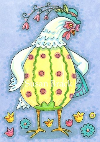 Easter Egg Dress Chicken Susan Bracke Cute Art EBSQ ACEO