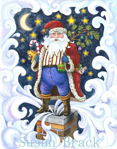 St. Nicholas Santa Father Christmas Pere Noel Holiday Chimney Susan Brack Art License