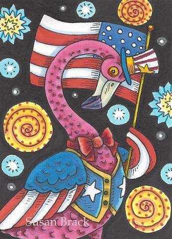 Pink Flamingo Bird Patriotic American Flag Holiday Susan Brack Art Illustration Licensing