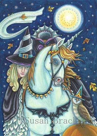 Headless Horseman Witch Woman Goth Gothic Horse Halloween Susan Brack