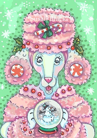Peppermint Pink French Poodle Dog Snowman Snow Globe Susan Brack Christmas Art