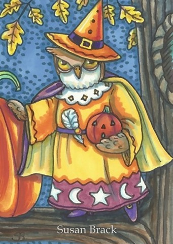 Halloween Witch Owl Bird Wizard Magic Susan Brack Art Illustration EHAG EBSQ License