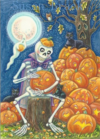Skeleton Skelly Carving Jack O Lantern Halloween Susan Brack Art Illustration Licensing