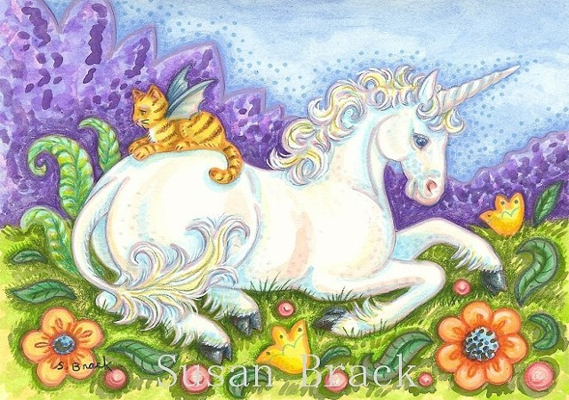 Unicorn White Horse Pony Cat Bat Wings Fantasy Susan Brack Folk Art illustration License
